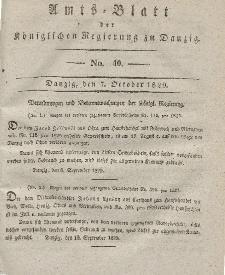 Amts-Blatt der Königlichen Regierung zu Danzig, 7. Oktober 1829, Nr. 40