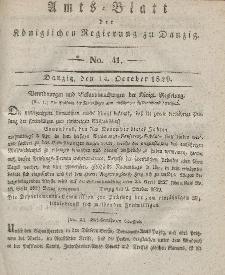 Amts-Blatt der Königlichen Regierung zu Danzig, 14. Oktober 1829, Nr. 41