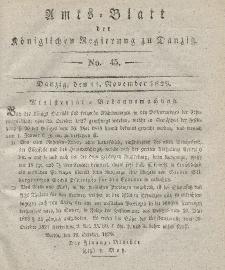 Amts-Blatt der Königlichen Regierung zu Danzig, 11. November 1829, Nr. 45