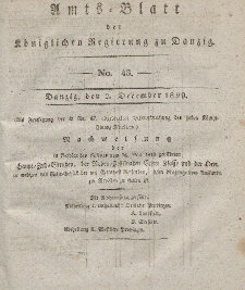 Amts-Blatt der Königlichen Regierung zu Danzig, 2. Dezember 1829, Nr. 48