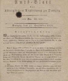 Amts-Blatt der Königlichen Regierung zu Danzig, 23. Dezember 1829, Nr. 51
