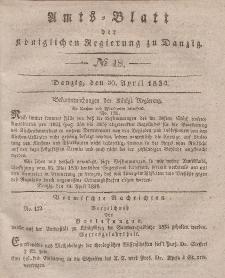 Amts-Blatt der Königlichen Regierung zu Danzig, 30. April 1834, Nr. 18