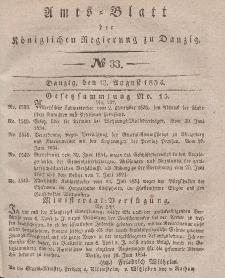Amts-Blatt der Königlichen Regierung zu Danzig, 13. August 1834, Nr. 33