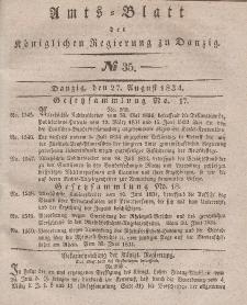 Amts-Blatt der Königlichen Regierung zu Danzig, 27. August 1834, Nr. 35