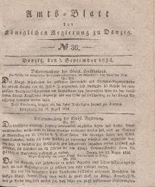 Amts-Blatt der Königlichen Regierung zu Danzig, 3. September 1834, Nr. 36