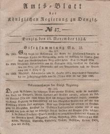 Amts-Blatt der Königlichen Regierung zu Danzig, 19. November 1834, Nr. 47