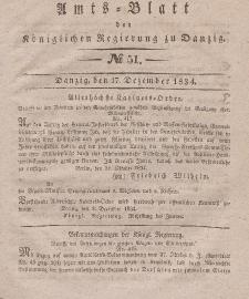 Amts-Blatt der Königlichen Regierung zu Danzig, 17. Dezember 1834, Nr. 51