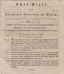 Amts-Blatt der Königlichen Regierung zu Danzig, 15. Januar 1824, Nr. 3