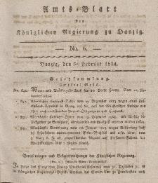 Amts-Blatt der Königlichen Regierung zu Danzig, 5. Februar 1824, Nr. 6