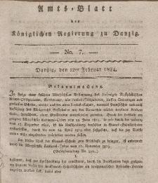 Amts-Blatt der Königlichen Regierung zu Danzig, 12. Februar 1824, Nr. 7