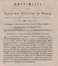 Amts-Blatt der Königlichen Regierung zu Danzig, 1. April 1824, Nr. 14