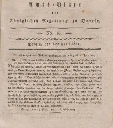 Amts-Blatt der Königlichen Regierung zu Danzig, 15. April 1824, Nr. 16