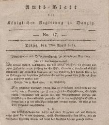 Amts-Blatt der Königlichen Regierung zu Danzig, 22. April 1824, Nr. 17