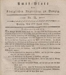 Amts-Blatt der Königlichen Regierung zu Danzig, 17. Juni 1824, Nr. 25