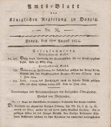 Amts-Blatt der Königlichen Regierung zu Danzig, 19. August 1824, Nr. 34