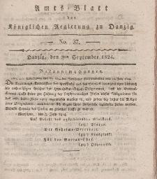 Amts-Blatt der Königlichen Regierung zu Danzig, 9. September 1824, Nr. 37