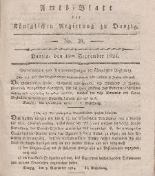 Amts-Blatt der Königlichen Regierung zu Danzig, 16. September 1824, Nr. 38