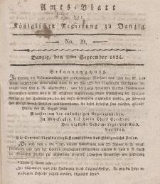Amts-Blatt der Königlichen Regierung zu Danzig, 23. September 1824, Nr. 39