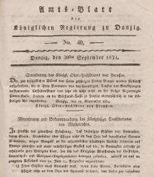 Amts-Blatt der Königlichen Regierung zu Danzig, 30. September 1824, Nr. 40