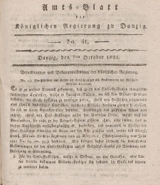Amts-Blatt der Königlichen Regierung zu Danzig, 7. Oktober 1824, Nr. 41