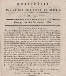 Amts-Blatt der Königlichen Regierung zu Danzig, 4. November 1824, Nr. 45