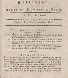Amts-Blatt der Königlichen Regierung zu Danzig, 11. November 1824, Nr. 46