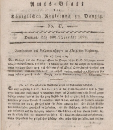 Amts-Blatt der Königlichen Regierung zu Danzig, 18. November 1824, Nr. 47
