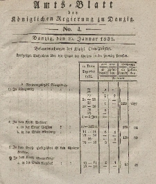 Amts-Blatt der Königlichen Regierung zu Danzig, 25. Januar 1832, Nr. 4