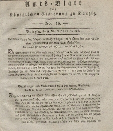 Amts-Blatt der Königlichen Regierung zu Danzig, 18. April 1832, Nr. 16