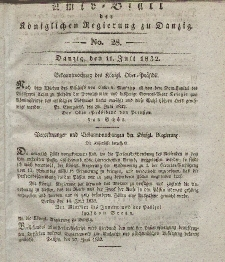Amts-Blatt der Königlichen Regierung zu Danzig, 11. Juli 1832, Nr. 28