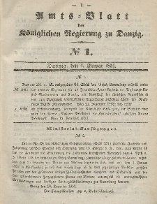 Amts-Blatt der Königlichen Regierung zu Danzig, 4. Januar 1854, Nr. 1