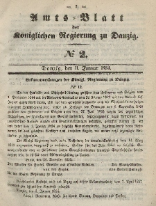 Amts-Blatt der Königlichen Regierung zu Danzig, 11. Januar 1854, Nr. 2