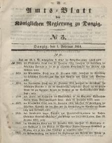 Amts-Blatt der Königlichen Regierung zu Danzig, 1. Februar 1854, Nr. 5
