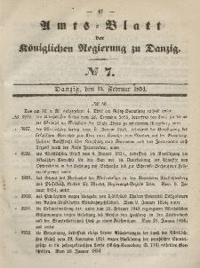 Amts-Blatt der Königlichen Regierung zu Danzig, 15. Februar 1854, Nr. 7