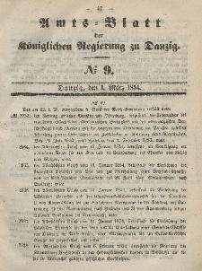 Amts-Blatt der Königlichen Regierung zu Danzig, 1. März 1854, Nr. 9