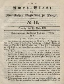 Amts-Blatt der Königlichen Regierung zu Danzig, 15. März 1854, Nr. 11