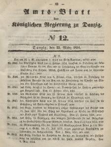 Amts-Blatt der Königlichen Regierung zu Danzig, 22. März 1854, Nr. 12