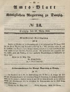 Amts-Blatt der Königlichen Regierung zu Danzig, 29. März 1854, Nr. 13
