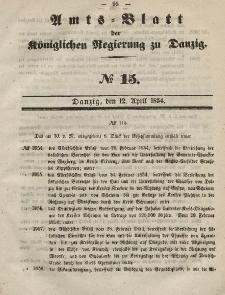 Amts-Blatt der Königlichen Regierung zu Danzig, 12. April 1854, Nr. 15