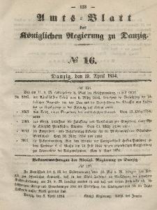 Amts-Blatt der Königlichen Regierung zu Danzig, 19. April 1854, Nr. 16