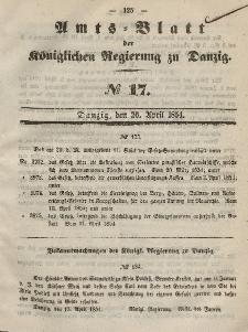 Amts-Blatt der Königlichen Regierung zu Danzig, 26. April 1854, Nr. 17