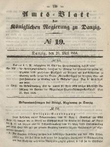 Amts-Blatt der Königlichen Regierung zu Danzig, 10. Mai 1854, Nr. 19