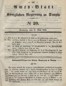 Amts-Blatt der Königlichen Regierung zu Danzig, 17. Mai 1854, Nr. 20
