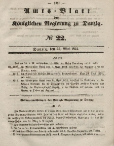 Amts-Blatt der Königlichen Regierung zu Danzig, 31. Mai 1854, Nr. 22