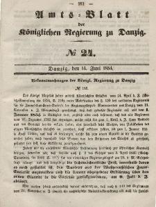 Amts-Blatt der Königlichen Regierung zu Danzig, 14. Juni 1854, Nr. 24