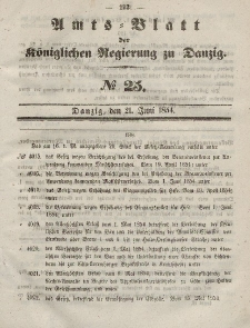 Amts-Blatt der Königlichen Regierung zu Danzig, 21. Juni 1854, Nr. 25
