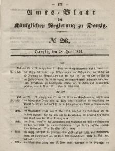 Amts-Blatt der Königlichen Regierung zu Danzig, 28. Juni 1854, Nr. 26