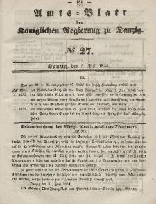 Amts-Blatt der Königlichen Regierung zu Danzig, 5. Juli 1854, Nr. 27