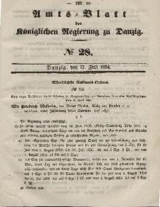 Amts-Blatt der Königlichen Regierung zu Danzig, 12. Juli 1854, Nr. 28