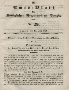 Amts-Blatt der Königlichen Regierung zu Danzig, 19. Juli 1854, Nr. 29